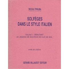 Solfeges Dans Le Style Italien Vol. 1 : 25 Lecons